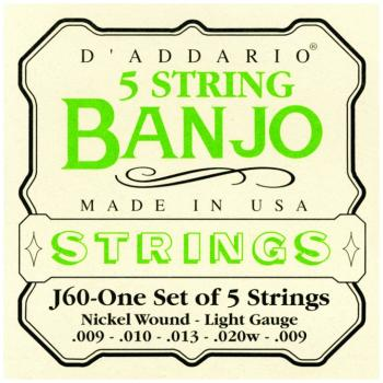 D'Addario Nickel Wound 5 String Banjo Strings, Lt. (DD-J60)