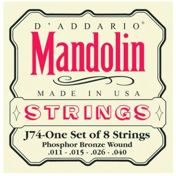D'Addario Phosphor Bronze Mandolin Strings, Medium (DD-J74)