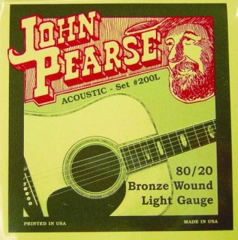 John Pearse 80/20 Bronze Acoustic Strings, Light (JP-JP200L)