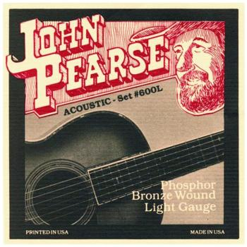John Pearse Phosphor Bronze Acoustic Guitar Strings, Light (12 - 53) (JP-JP600L)