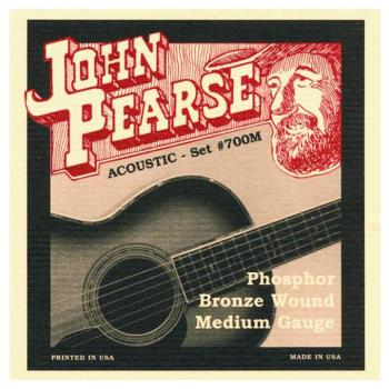 John Pearse Phosphor Bronze Acoustic Guitar Strings, Medium (13 - 56) (JP-JP700M)
