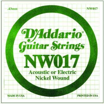 D'Addario Nickel Wound Single Strings, .017 (5) (DD-NW017)