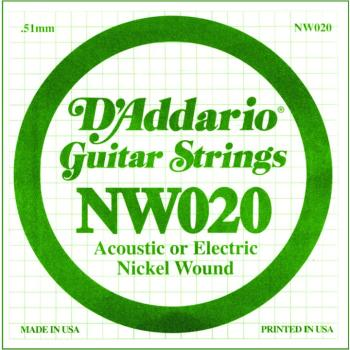 D'Addario Nickel Wound Single Strings, .020 (5) (DD-NW020)