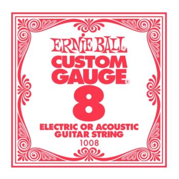 Ernie Ball Plain Steel Single Strings, .008 (6) (EB-EB1008)