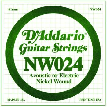 D'Addario Nickel Wound Single Strings, .024 (5) (DD-NW024)