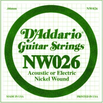 D'Addario Nickel Wound Single Strings, .026 (5) (DD-NW026)