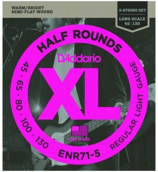 D'Addario Half Round 5 St. Bass Strings, Reg. Lt. (DD-ENR715)