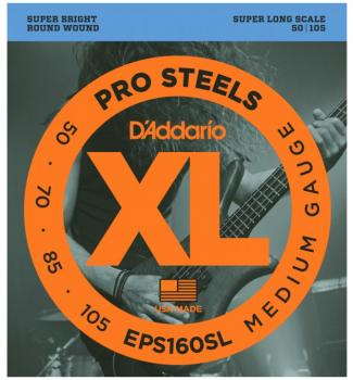 D'Addario XL ProSteels Super Lng Bass Strings, Med (DD-EPS160SL)