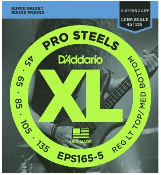 D'Addario XL ProSteels 5 String, Reg Lt/Med Bottom (DD-EPS1655)