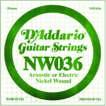 D'Addario Nickel Wound Single Strings, .036 (5) (DD-NW036)