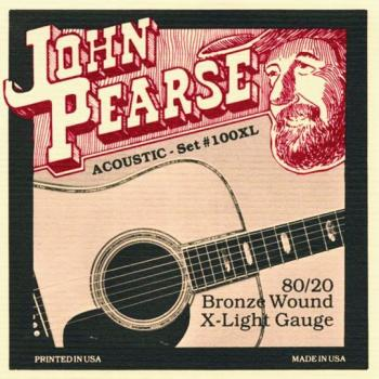 John Pearse 80/20 Bronze Acoustic Strings, Ex. Lt. (JP-JP100XL)