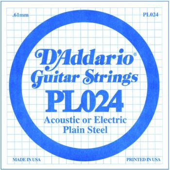 D'Addario Plain Steel Guitar Strings, .024 10 Pack (DD-PL024)