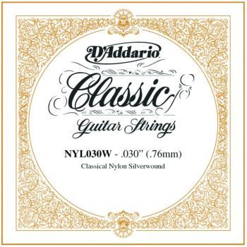 D'Addario Silverplated Nylon Single, .030 (5) (DD-NYL030W)