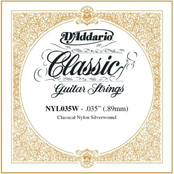 D'Addario Silverplated Nylon Single, .035 (5) (DD-NYL035W)