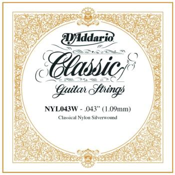 D'Addario Nylon Tie On Single Class. Strings .043 (DD-NYL043W)