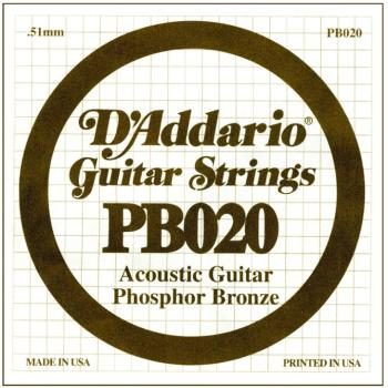 D'Addario Phosphor Bronze Single String, .020 (5) (DD-PB020)
