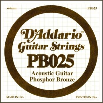 D'Addario Phosphor Bronze Single String, .025 (5) (DD-PB025)