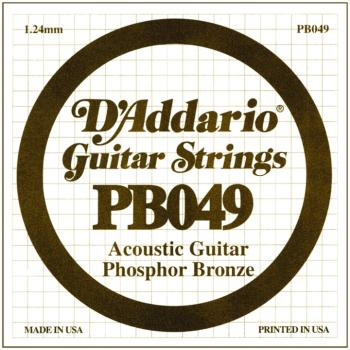 D'Addario Phosphor Bronze Single String, .049 (5) (DD-PB049)