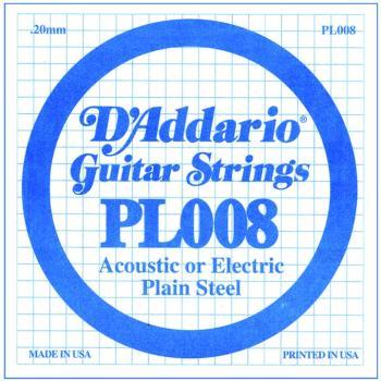 D'Addario Plain Steel Single Strings, .008 (10) (DD-PL008)