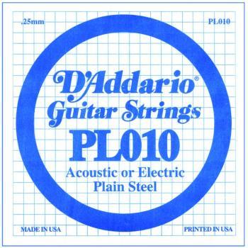 D'Addario Plain Steel Single Strings, .010 (10) (DD-PL010)