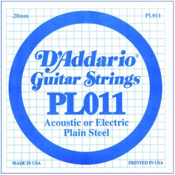 D'Addario Plain Steel Single Strings, .011 (10) (DD-PL011)