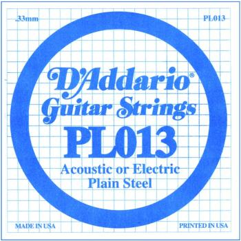 D'Addario Plain Steel Single Strings, .013 (10) (DD-PL013)