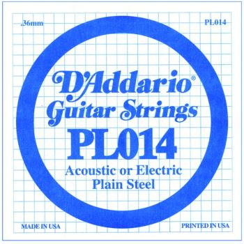 D'Addario Plain Steel Single Strings, .014 (10) (DD-PL014)