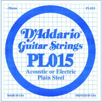 D'Addario Plain Steel Single Strings, .015 (10) (DD-PL015)