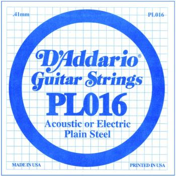 D'Addario Plain Steel Single Strings, .016 (10) (DD-PL016)