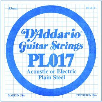 D'Addario Plain Steel Guitar Strings, .017 10 Pack (DD-PL017)