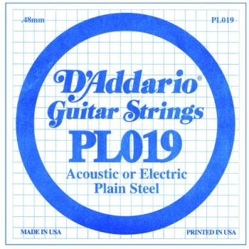 D'Addario Plain Steel Guitar Strings, .019 10 Pack (DD-PL019)