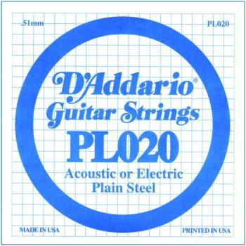 D'Addario Plain Steel Guitar Strings, .020 10 Pack (DD-PL020)