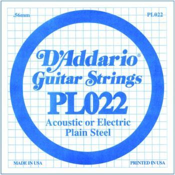 D'Addario Plain Steel Guitar Strings, .022 10 Pack (DD-PL022)