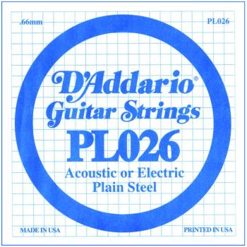 D'Addario Plain Steel Single Guitar Strings, .026 (DD-PL026)
