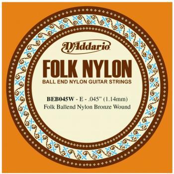 D'Addario Folk/Classical Single Strings, .045 (5) (DD-BEB045W)