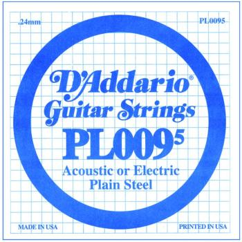 D'Addario Plain Steel Single Strings, .0095 (10) (DD-PL0095)