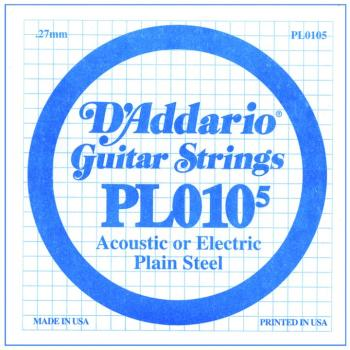 D'Addario Plain Steel Single Strings, .0105 (10) (DD-PL0105)