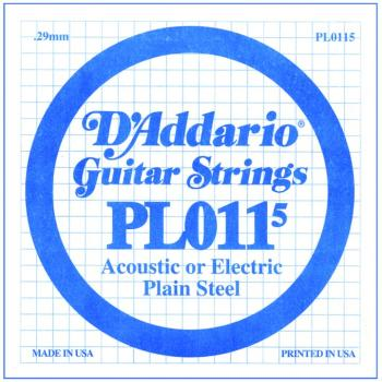 D'Addario Plain Steel Single Strings, .0115 (10) (DD-PL0115)